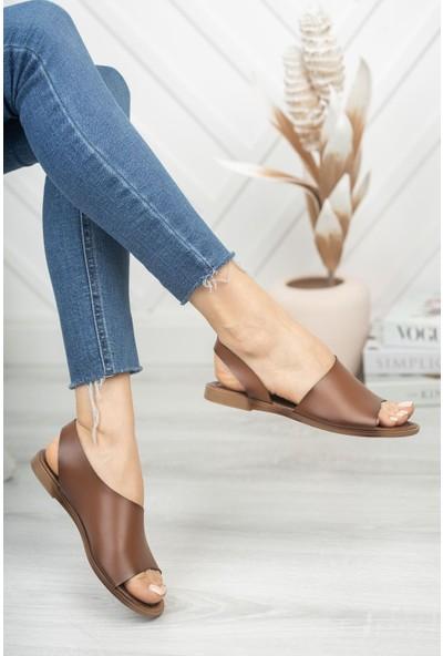 Prestij Amaur Deri Kahverengi Günlük Kadın Sandalet