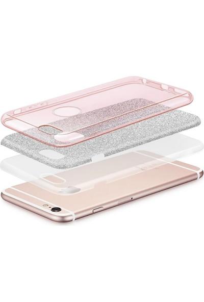 """Case Markt Apple iPhone x 5.8"""" Parlak Simli Silikon Telefon Kılıfı Mavi"""