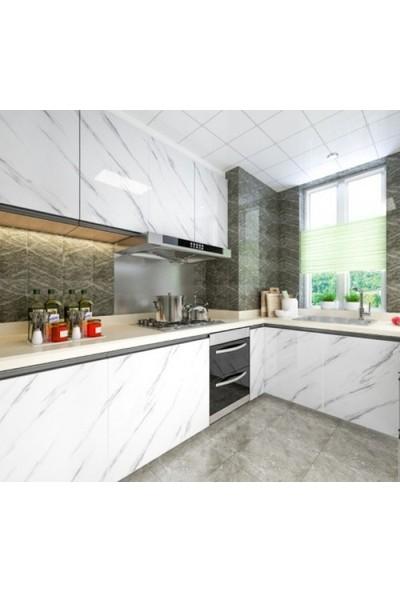 Mermer Desenli Mutfak Tezgah Üstü Yapışkanlı Kaplama Kağıdı Yapışkanlı Folyo 5 Metre x 60 cm