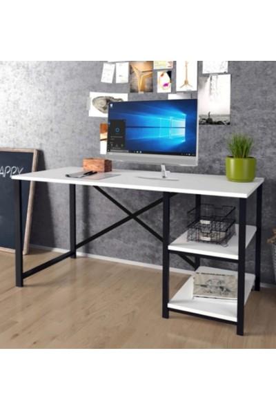 Larem Mobilya Bilgisayar Masası ve 5 Raflı Metal Kitaplık Set Çalışma Masası Laptop Ofis Masası Beyaz