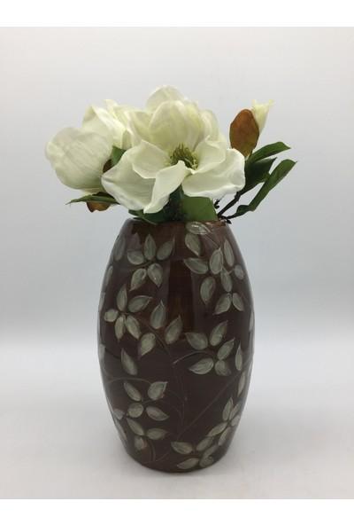 Afloday Anadolu Koleksiyonu Seramik El Yapımı Çiçek Desenli Vazo