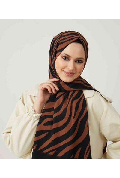 Moda Kaşmir Moda Kaşmir, Kadın Siyah-Kahve Zebra Desenli Şal (50 Lik Toplu Iğne Hediye)