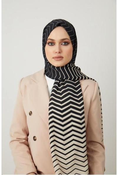 Moda Kaşmir Moda Kaşmir, Kadın Siyah-Beyaz Zikzak Desenli Şal (50 Lik Toplu Iğne Hediye)