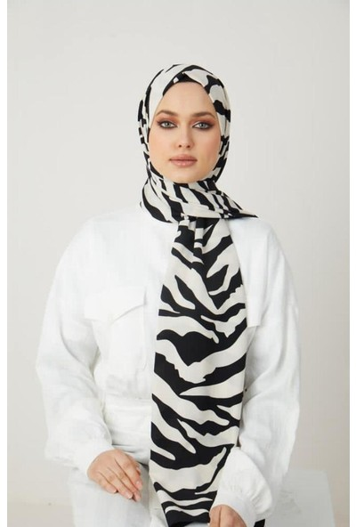 Moda Kaşmir Moda Kaşmir, Kadın Siyah-Beyaz Zebra Desenli Şal (50 Lik Toplu Iğne Hediye)