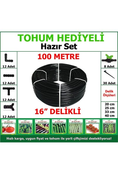 Evci * Tohum * 100 mt Full Set Delikli Damla Sulama Hortumu