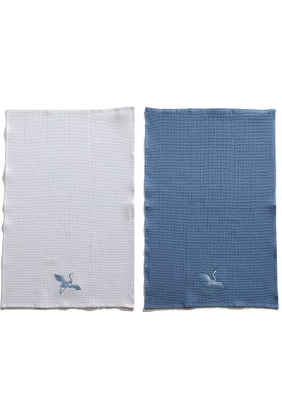 Favore Casa 2'li Kurulama Bezi 45 x 70 cm cm Beyaz&mavi