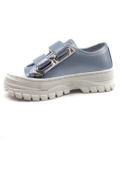 Sema Mavi Resimli Günlük Kız Çocuk Spor Ayakkabı