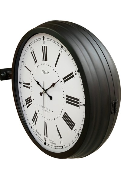 Platin Saat 40 cm Siyah Metal Roma Rakamlı Istasyon Duvar Saati