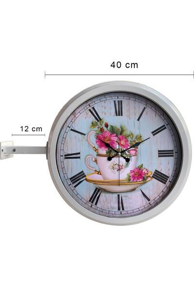 Platin Saat 40 cm Beyaz Metal Mutfak Istasyon Duvar Saati