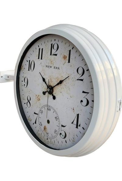 Platin Saat 40 cm Beyaz Metal Antik Eskitme Istasyon Duvar Saati