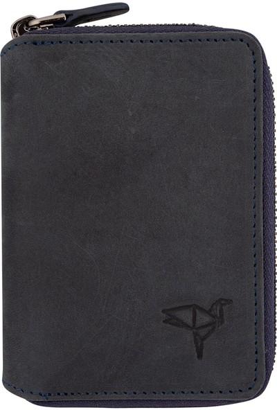 Mascard Newyork Vintage Hakiki Deri Fermuarlı Unisex Kartlık Cüzdan