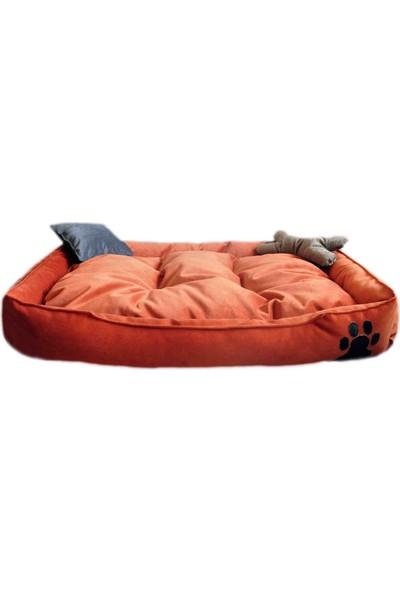 Mavi Vitrin Elite Yıkanabilir Ultra Soft Large Büyük Irk Köpek Yatağı Kiremit Renk 90X70 cm
