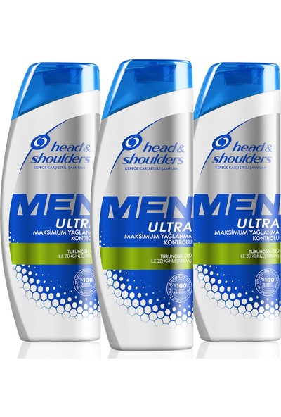 Head & Shoulders Men Ultra Erkeklere Özel Kepek Karşıtı Şampuan Maksimum Yağlanma Kontrolü 360 ml x 3