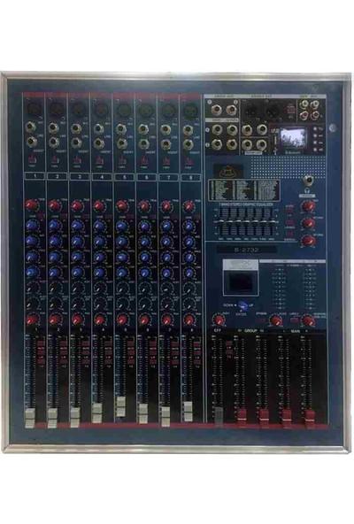 Cooma B-2732 8 Kanal(8 Mono+2 Grup) 2X1200 Watt Usb+Bt Case Mikser Anfi 99 Effect