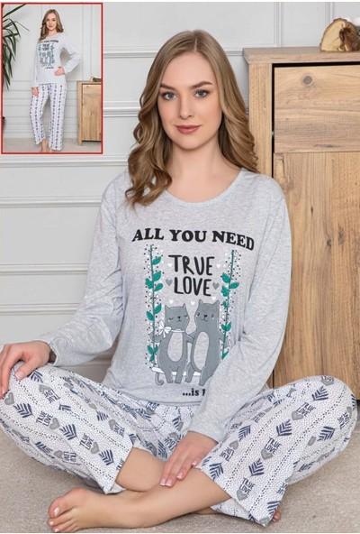 Bayan Uzun Kollu Pamuklu Gri Kedi Kadın Alt Üst Pijama Takımı Medium