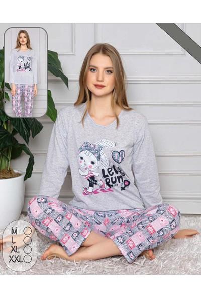 Bayan Uzun Kollu Pamuklu Gri Tavşan Kadın Alt Üst Pijama Takımı Large