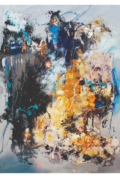Mağazacım Soyut Renkler Yağlı Boya Reprodüksiyon Dekoratif Kanvas Tablo TBL1696 35X50 cm