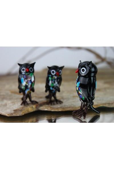 Adamodart Siyah Baykuş 3'lü Cam Biblo Set