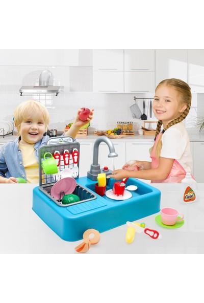 Kayyum Oyuncak Modern Çeşmeli Lavabo Seti Mavi Pilli Mutfak Oyuncak Seti