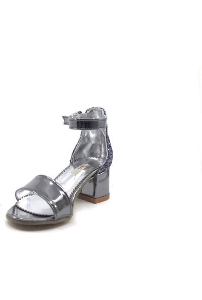 Sema Platin Simli Günlük Abiye Tek Bant Kız Çocuk Topuklu Ayakkabı