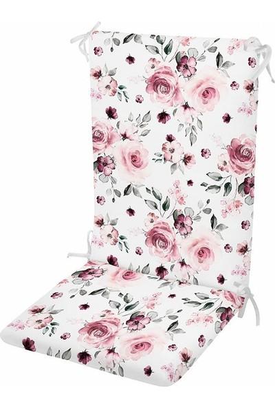 Evimstil Çiçek Desen Fitilli Arkalıklı Sandalye Minderi Süngerli Fermuarlı