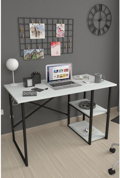 Bofigo 60X120 cm 2 Raflı Çalışma Masası Bilgisayar Masası Ofis Ders Yemek Masası Beyaz