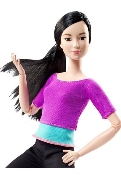 Barbie Sonsuz Hareket Bebeği, Kumral - Siyah Taytlı, Mavi Tişörtlü, Siyah Uzun Saçlı DHL84