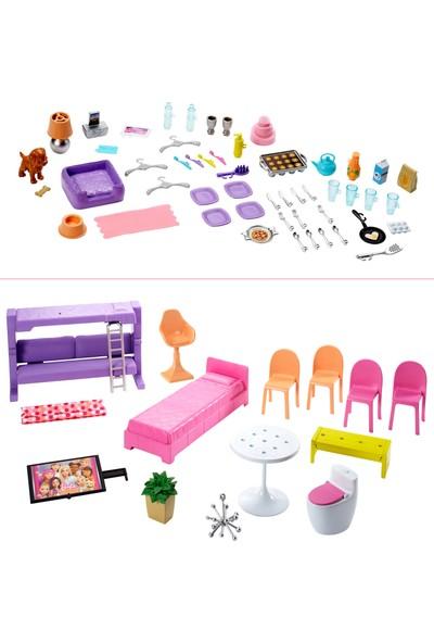 Barbie'nin Üç Katlı Rüya Evi ve Aksesuarları Oyun Seti, Havuzlu, Kaydıraklı, Asansörlü Bebek Evi FHY73