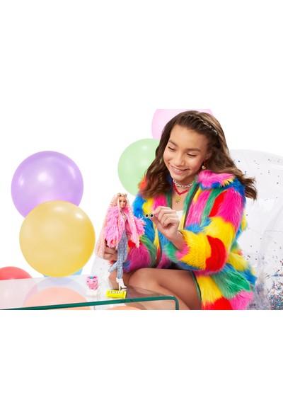 Barbie Extra - Pembe Peluş Ceketli Unicorn Oyuncaklı Bebek 3-9 Yaş Arası Kızlar İçin İdeal Bir Hediye Grn28