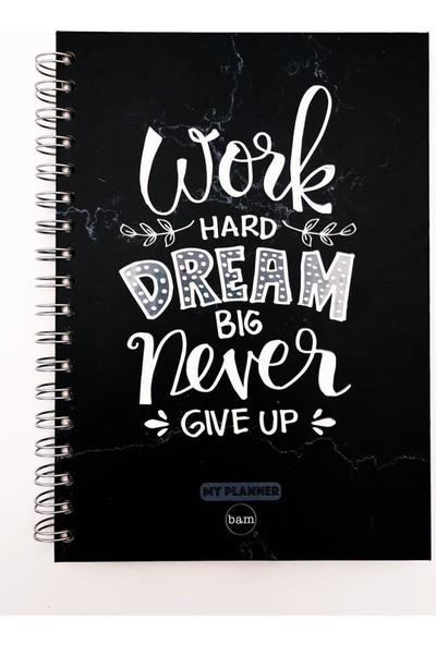 Trendimsin Telli Planlayıcı Defter Ajanda - Work Hard Dream Big