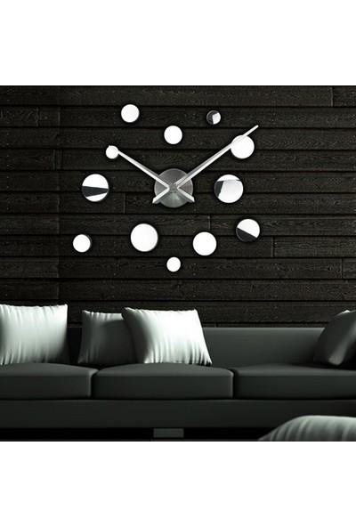 Platin Saat 3D Gümüş Büyük Boy Duvar Saati