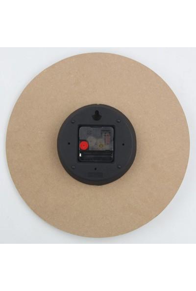 Platin Saat 30 cm Ahşap Kahve Dekoratif Duvar Saati