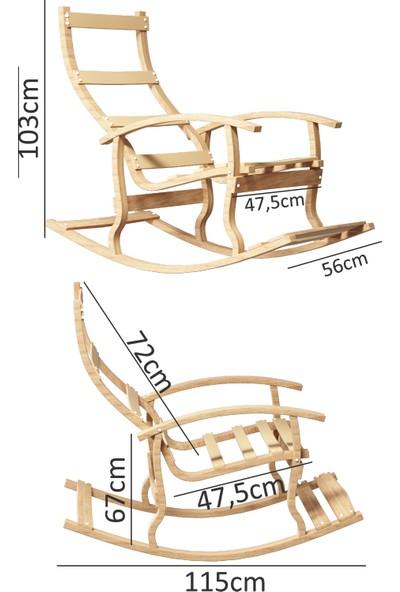 Mobildeco Padişah Ahşap Sallanan Sandalye Füme - Doğal