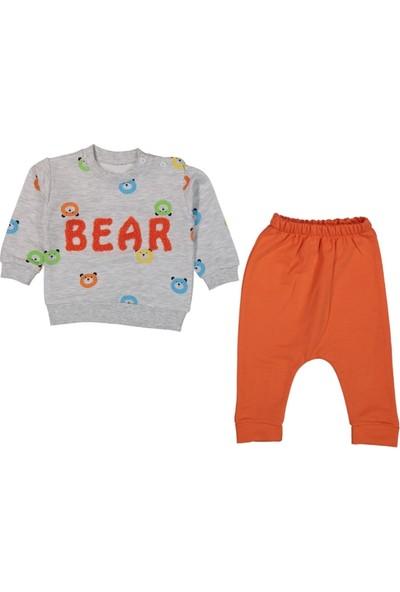 Tox (2 Parça) Bear Baskılı Turuncu Ikiip Mevsimlik Erkek 2li Bebek Takım (6,9,12,18 Ay)