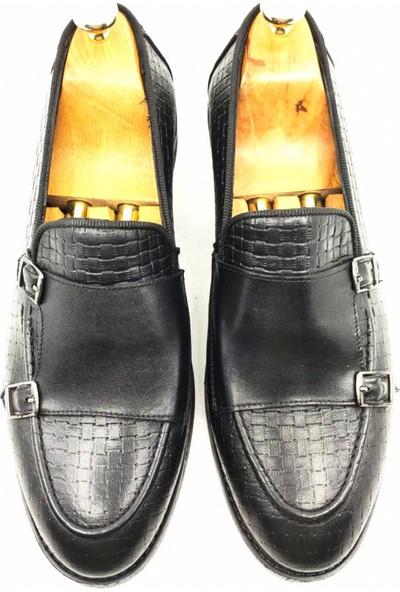 Deepsea Siyah Erkek Çift Demir Tokalı Enjeksiyon Tabanlı Deri Ayakkabı 2104497