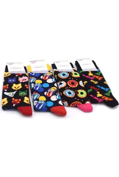 Çekmece Karışık Desen 4'lü Unisex - Erkek Pamuklu Eğlence Soket Çorap