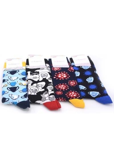 Çekmece Karışık Desen 4'lü Unisex - Erkek Pamuklu Maske-Mesafe-Hijyen Soket Çorap