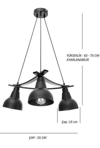 Umur Aydınlatma Inka 3'lü Krom Lav Şapkalı Avize Sarkıt