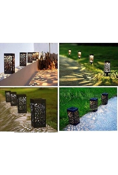 My Black Dekoratif Solar Güneş Enerjili Bahçe Aydınlatması Yürüyüş Yolu Seti 8'li