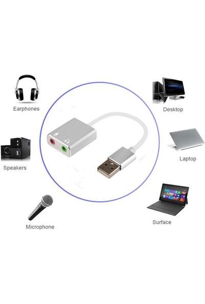 OEM USB Harici 7.1 Kanal Stereo Ses Kartı 3.5mm Kablolu Gri