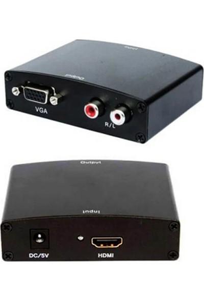 Wozlo HDMI To VGA Çevirici +R/l Audio Converter Ses ve Görüntü Çevirici