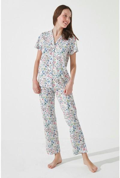 Penti Gri Gift Light Floral Gömlek Pantolon Takımı