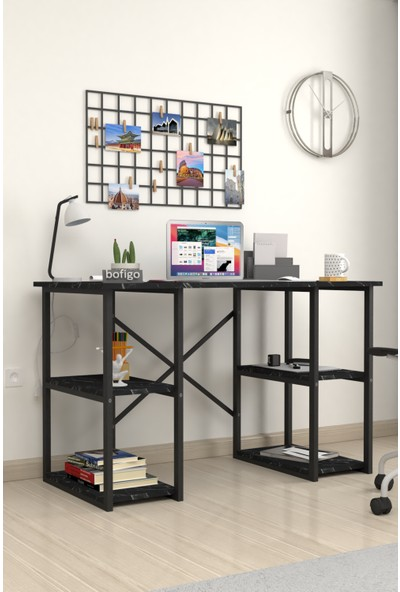 Bofigo 60X120 cm 4 Raflı Çalışma Masası Bilgisayar Masası Ofis Ders Yemek Masası Bendir