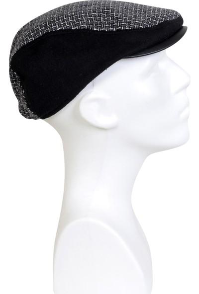 İlhan Işık Erkek Yün Deri Uclu Desenli Kumaş Kasket Şapka
