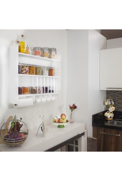 Quickbuy Ahşap Mutfak Dolabı Terek Rafı Bahratlık Dekoratif Mutfak Eşya Düzenleyici Raf Organizer Mutfak Rafı