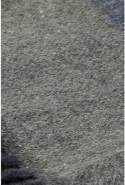 İlhan Işık Okka Erkek Kışlık Püsküllü Çizgi Desenli Gri Kaşmir Atkı