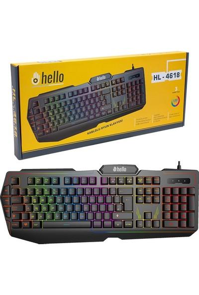 Hello 3 Makro Tuşlu 3 Renk Işıklı Oyuncu Klavye
