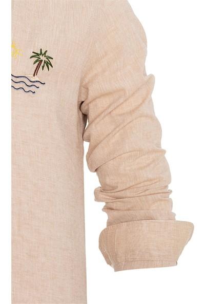 Paşahan Keten Nakışlı Slim Fit Gömlek