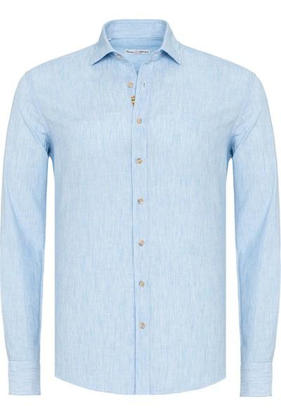 Paşahan Mavi Keten El Işlemeli Slim Fit Gömlek