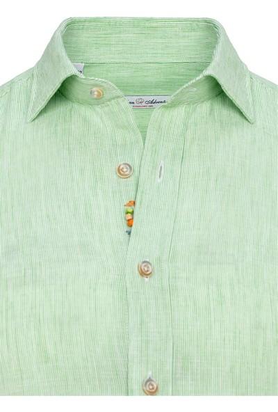 Paşahan Açık Yeşil Keten El Işlemeli Slim Fit Gömlek